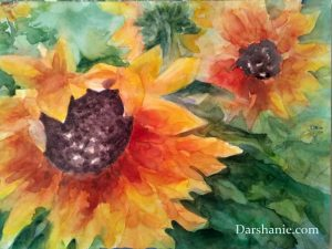 darshanie sukhu watercolor sunflower happy